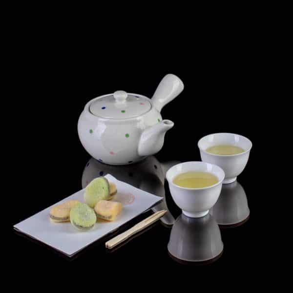 Чайник кусю белый фарфор Горох_2